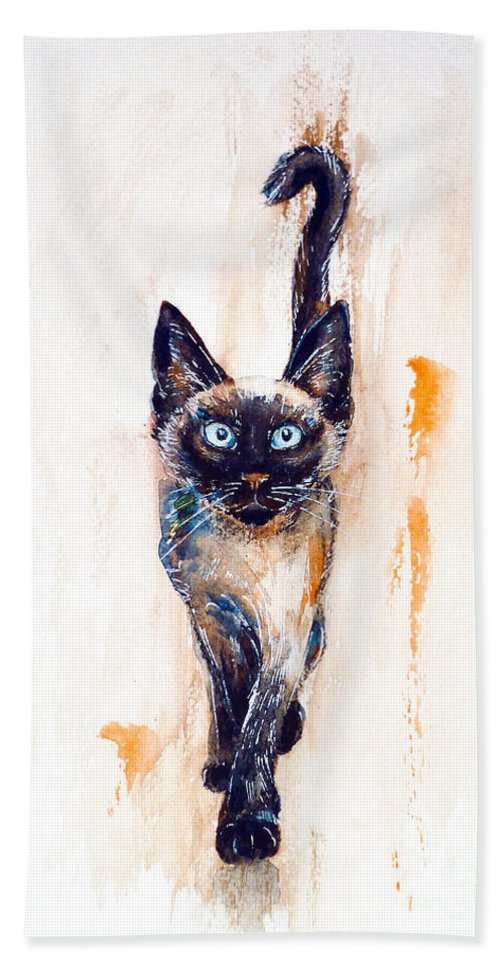 Siamese Beach Towel featuring the painting Let's Play by Zaira Dzhaubaeva