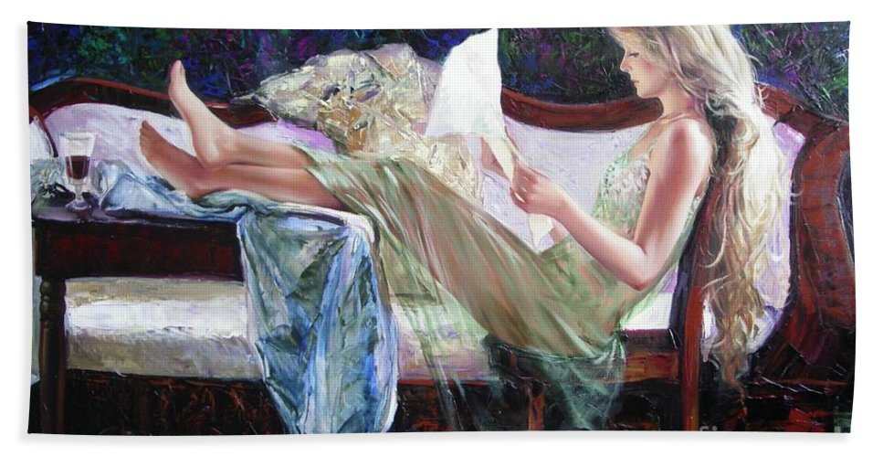 Figurative Beach Sheet featuring the painting Letter From Him by Sergey Ignatenko