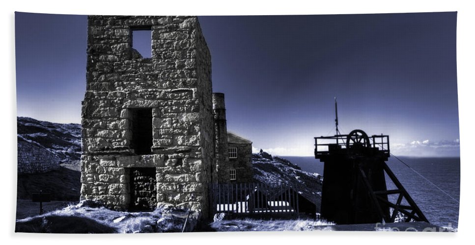 Blue Beach Towel featuring the photograph Levant Mine In Blue by Rob Hawkins