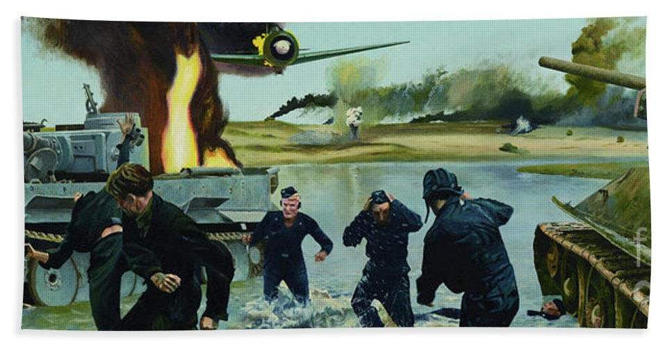 Soldiers Beach Towel featuring the painting Liberation by Oleg Konin