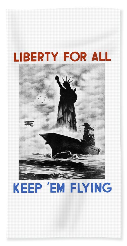 Wwii Beach Towel featuring the painting Liberty For All -- Keep 'em Flying by War Is Hell Store