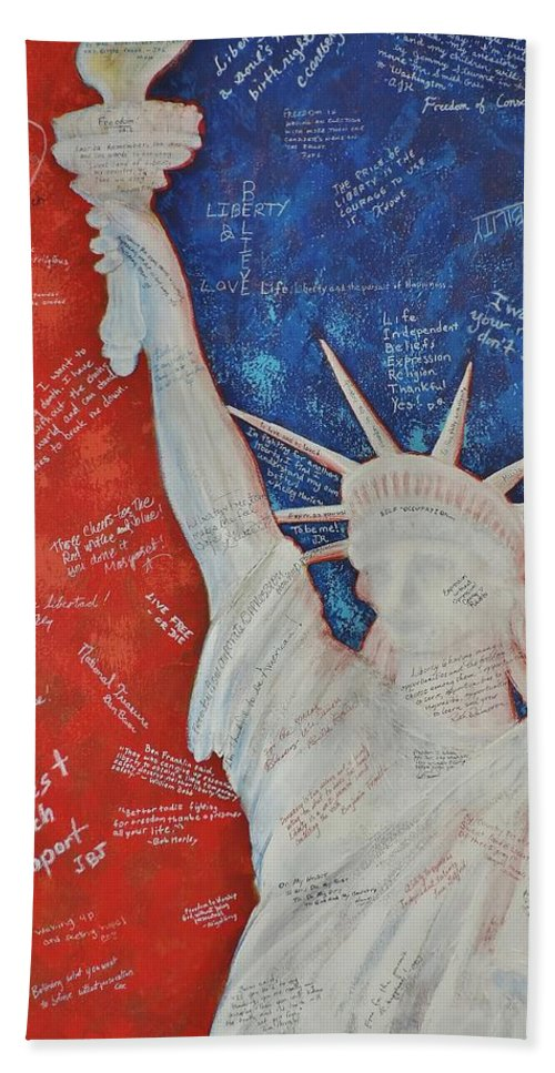 Statue Of Liberty Beach Towel featuring the painting Liberty Is... by Margaret Bobb
