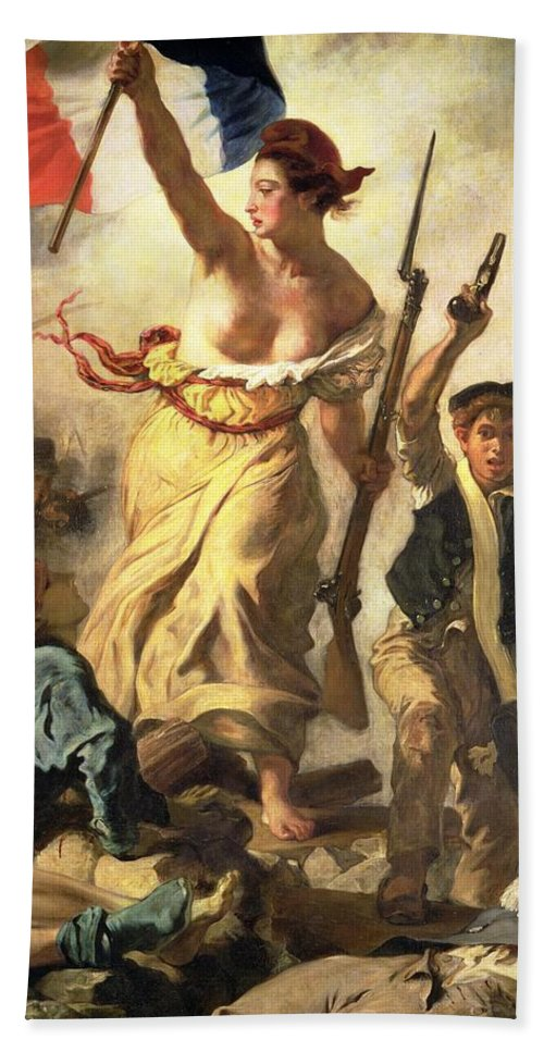 Personification; Female; Bare Breast; Soldier; Bayonet; National Flag; Revolution; Tricolour; Marianne; Freedom Beach Towel featuring the painting Liberty Leading The People by Ferdinand Victor Eugene Delacroix
