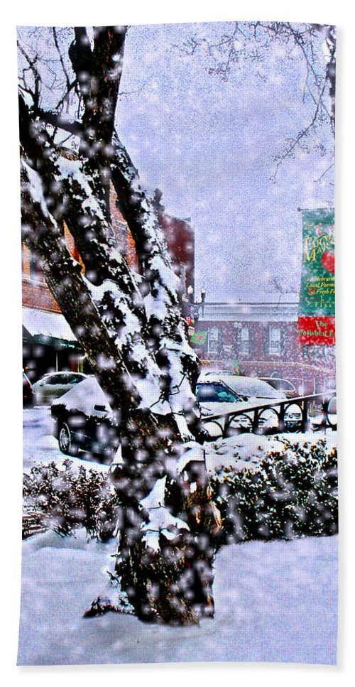 Landscape Beach Towel featuring the photograph Liberty Square In Winter by Steve Karol