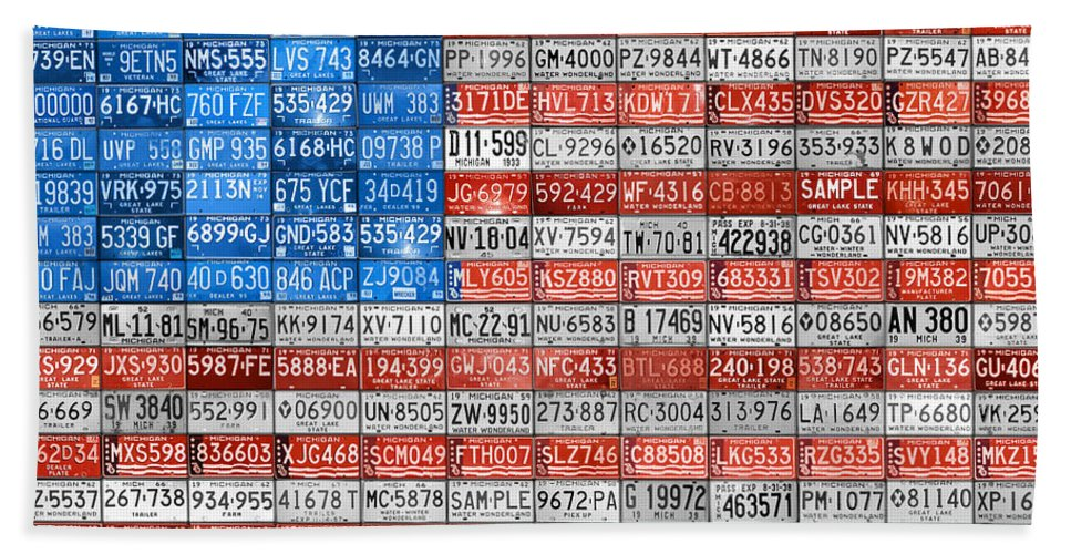 Art Beach Towel featuring the mixed media License Plate Flag Of The United States by Design Turnpike