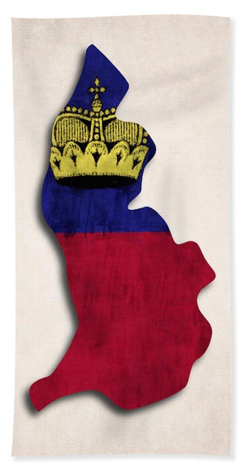 Beach Towel featuring the digital art Liechtenstein Map Art With Flag Design by World Art Prints And Designs