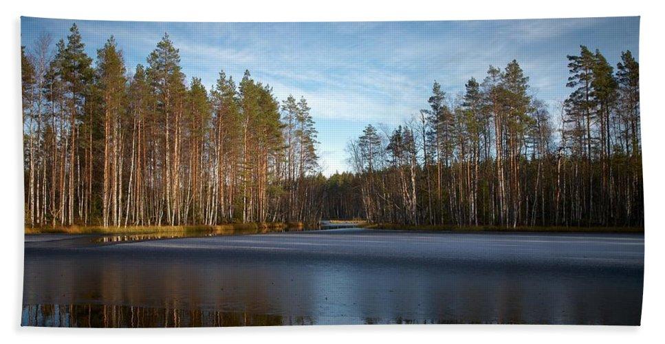 Lehtokukka Beach Towel featuring the photograph Liesilampi 6 by Jouko Lehto