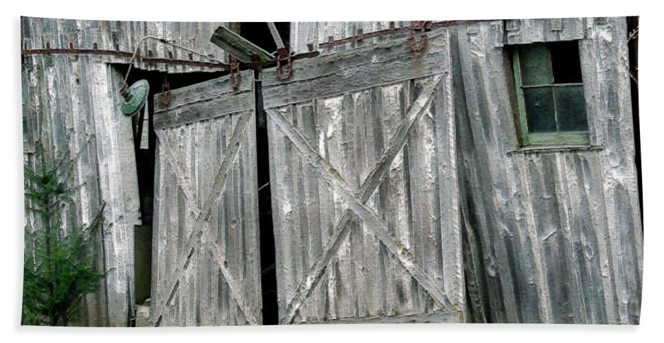 Barn Beach Towel featuring the digital art Life Among The Ruins by RC DeWinter