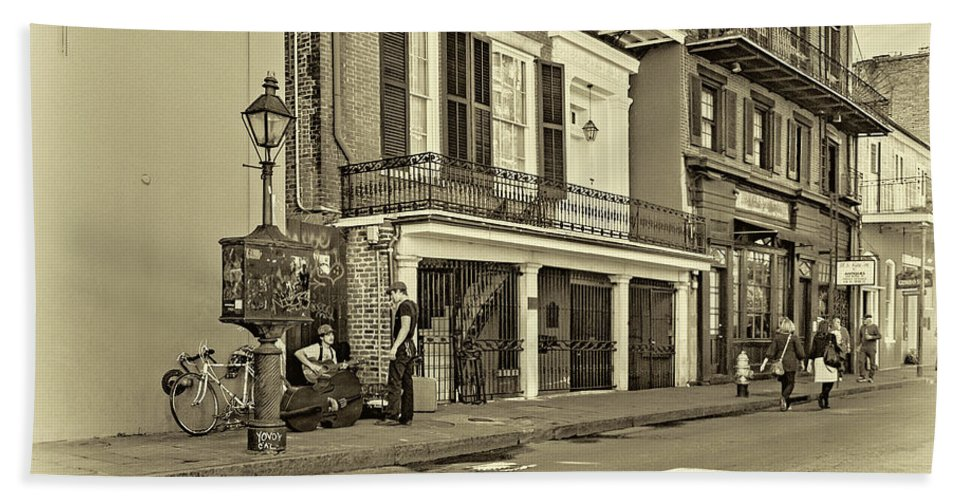 French Quarter Beach Towel featuring the photograph Life In The Quarter - Antique Sepia by Steve Harrington