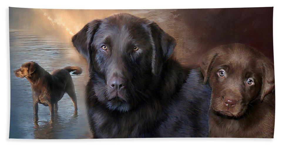 Labrador Retriever Beach Towel featuring the mixed media Life Of A Lab by Carol Cavalaris