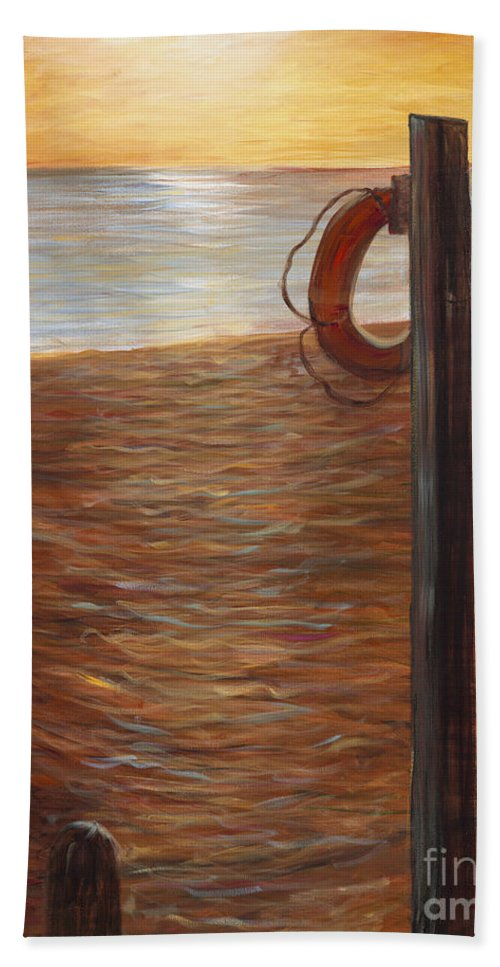 Life Ring Beach Towel featuring the painting Life Ring at Sunset by Nadine Rippelmeyer