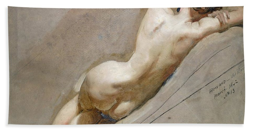 Nude; Back Beach Towel featuring the painting Life Study Of The Female Figure by William Edward Frost