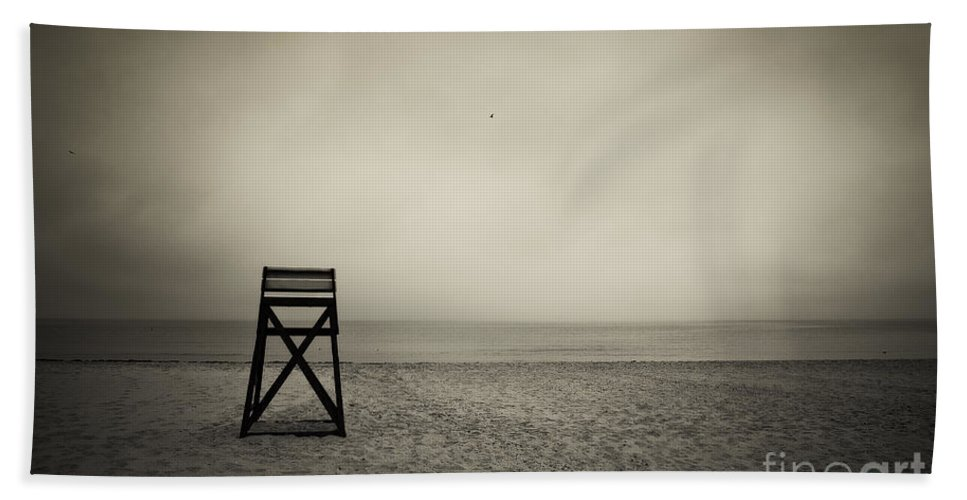 B&w Beach Towel featuring the photograph Lifeguard Stand by John Greim