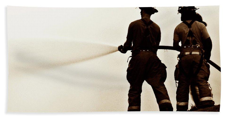 Fireman Beach Towel featuring the photograph Lifeline by Neil Shapiro
