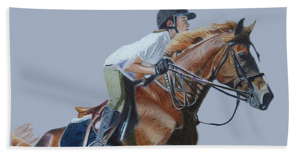 Art+prints Beach Towel featuring the painting Horse Jumper by Patricia Barmatz