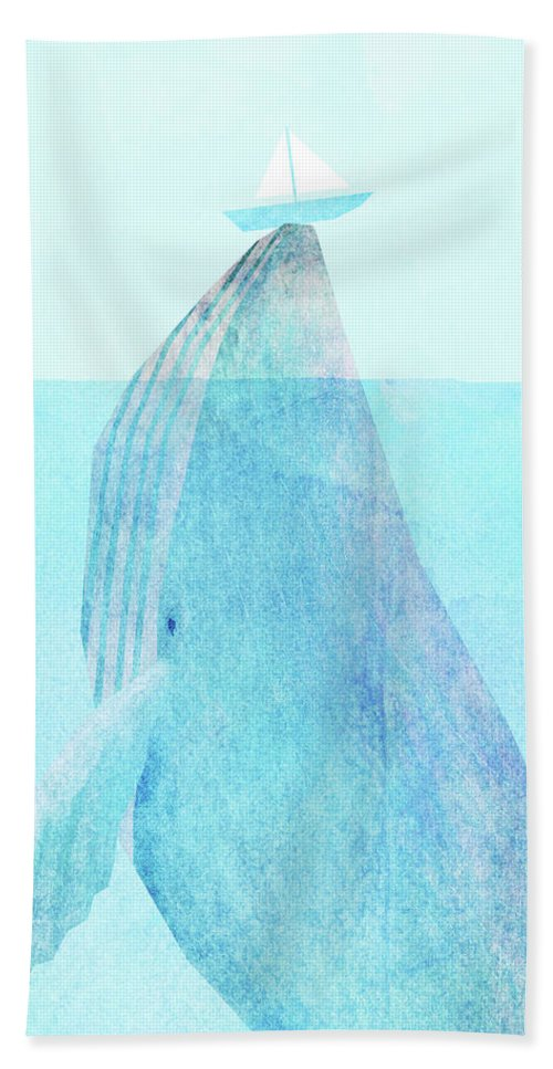 Whale Beach Towel featuring the drawing Lift option by Eric Fan