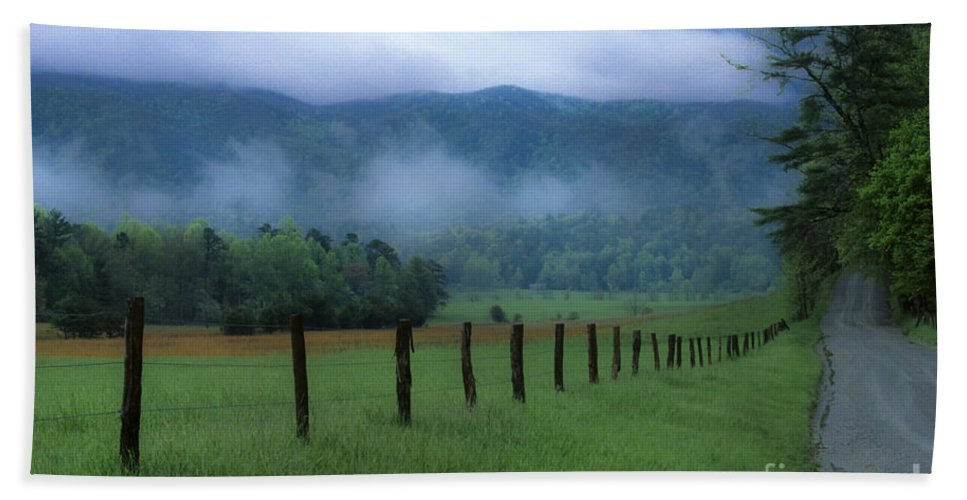 Landscape Beach Towel featuring the photograph Lifting Fog In Cades Cove by Sandra Bronstein