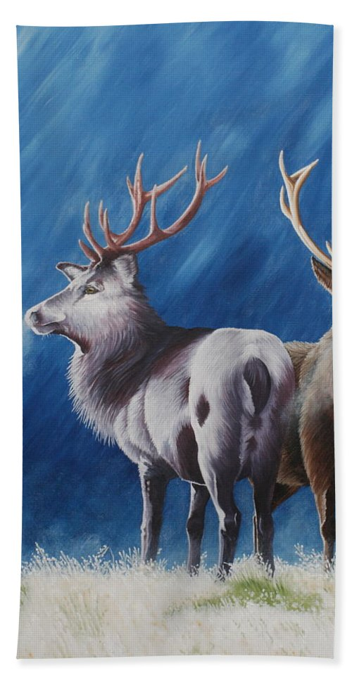 Portrait Beach Towel featuring the painting Light And Dark Stags by Pauline Sharp