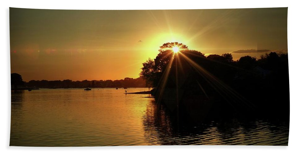 Sunset Beach Towel featuring the photograph Light Break Through At Sundown by Lilia D