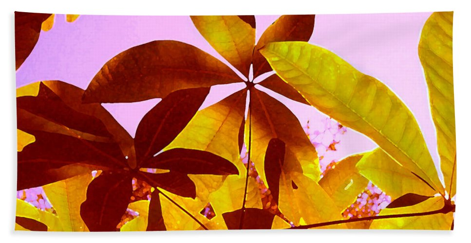 Garden Beach Towel featuring the painting Light Coming Through Tree Leaves 1 by Amy Vangsgard
