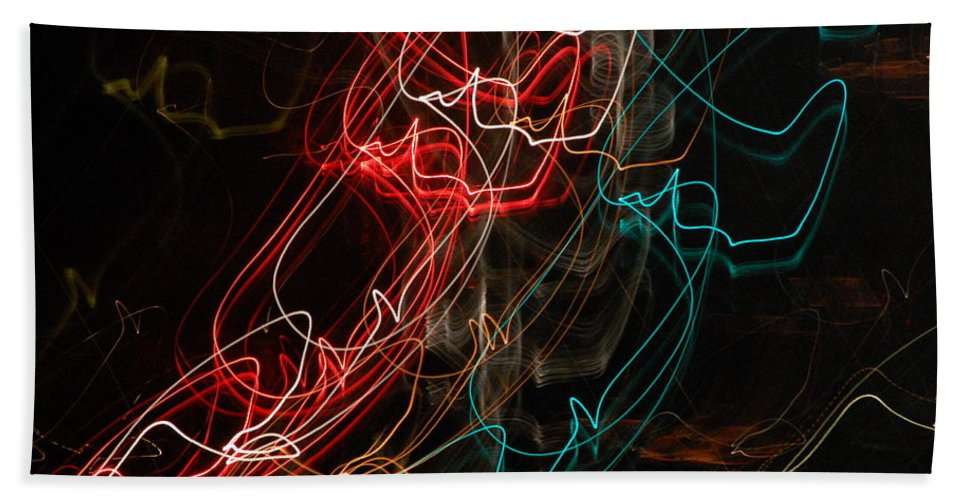 Abstract Digital Photo Beach Towel featuring the photograph Light In Motion by David Lane