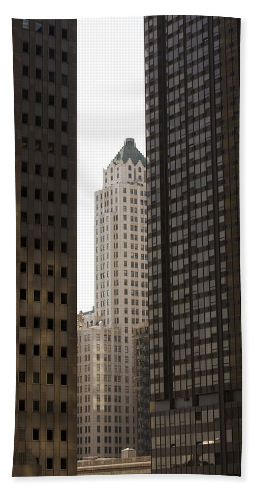 Chicago City Wind Windy Jungle Urban Metro Building Tall High Windows Skyscraper Sky Beach Towel featuring the photograph Light In The End by Andrei Shliakhau