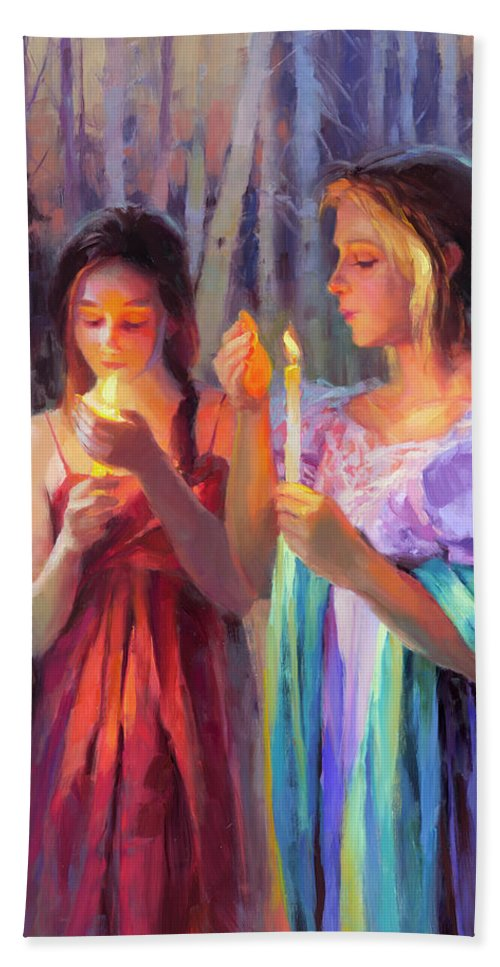 Forest Beach Towel featuring the painting Light In The Forest by Steve Henderson