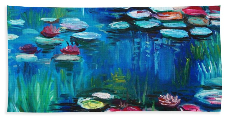 Water Lillies Beach Towel featuring the painting Light Of The Lillies by Elizabeth Robinette Tyndall