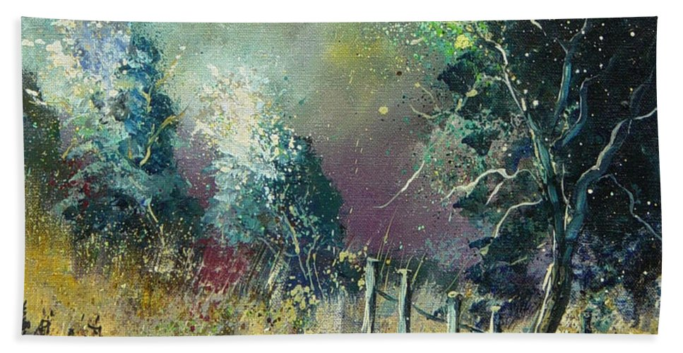 Landscape Beach Sheet featuring the painting Light On Trees by Pol Ledent