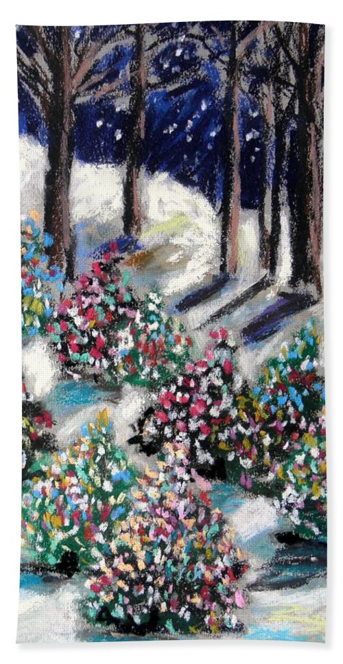 Christmas. Blue Sky Beach Towel featuring the painting Lighted Path by John Williams