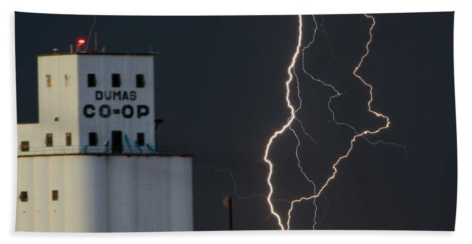 Lighten Beach Towel featuring the photograph Lighten Strike At The Co Op by Gary Langley