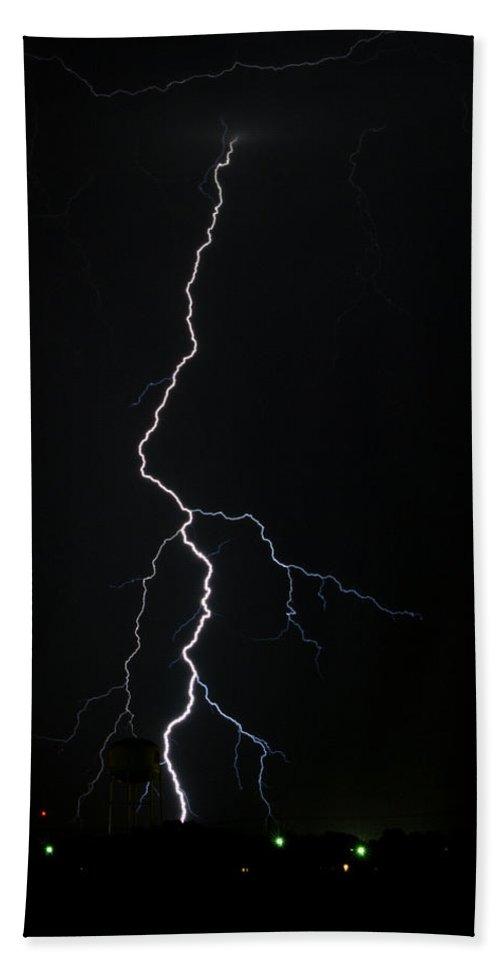 Lighten Strike Beach Towel featuring the photograph Lighten Strike by Gary Langley