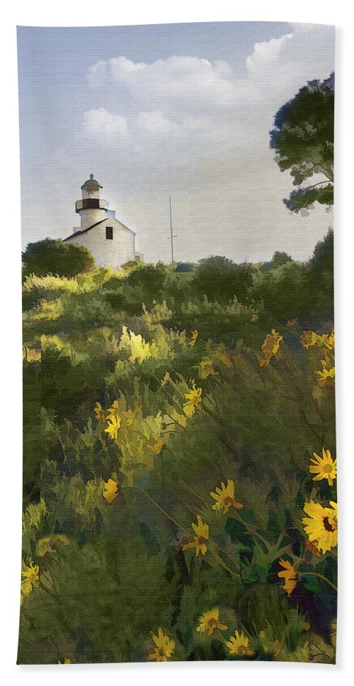 Lighthouse Beach Towel featuring the digital art Lighthouse Daisies by Sharon Foster