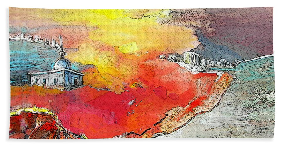Albir Beach Towel featuring the painting Lighthouse In Albir On The Costa Blanca by Miki De Goodaboom