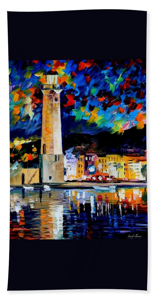 Afremov Beach Towel featuring the painting Lighthouse In Crete by Leonid Afremov