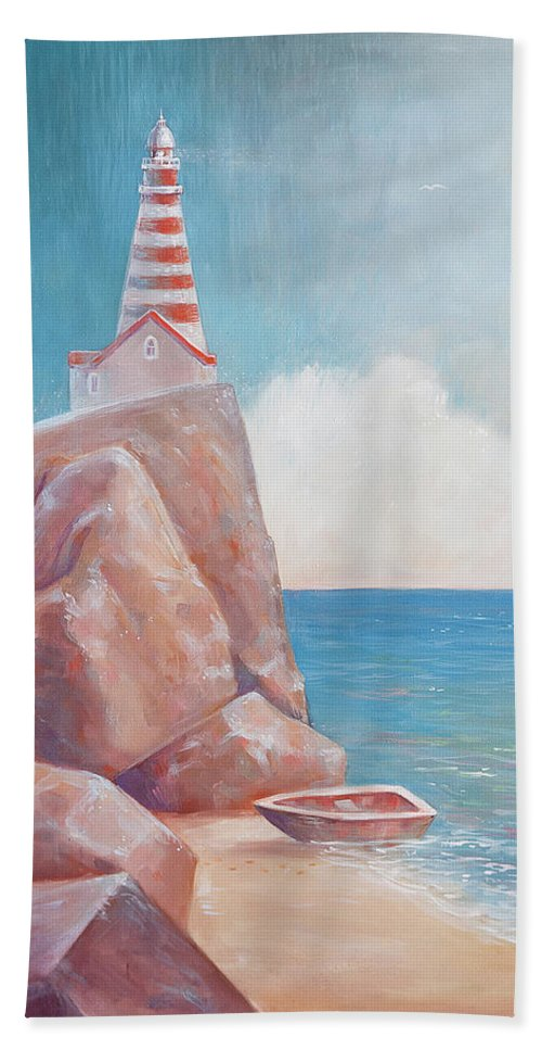 Lighthouse Beach Towel featuring the painting Lighthouse by Olga Yatsenko