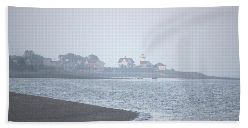 Lighthouse Beach Towel featuring the painting Lighthouse On Lordship Beach by Donna Walsh