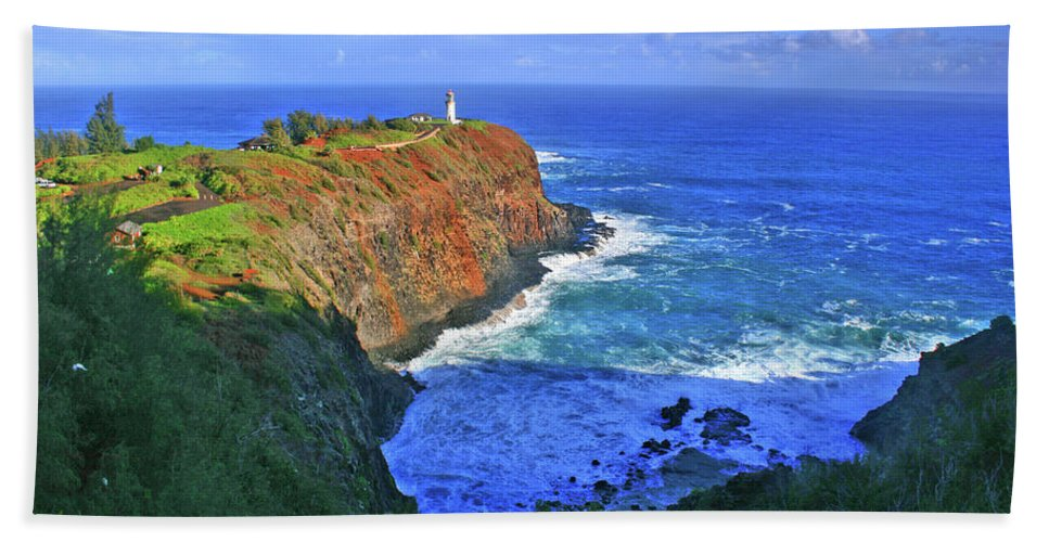 Lighthouse Beach Towel featuring the photograph Lighthouse On The Hill by Scott Mahon
