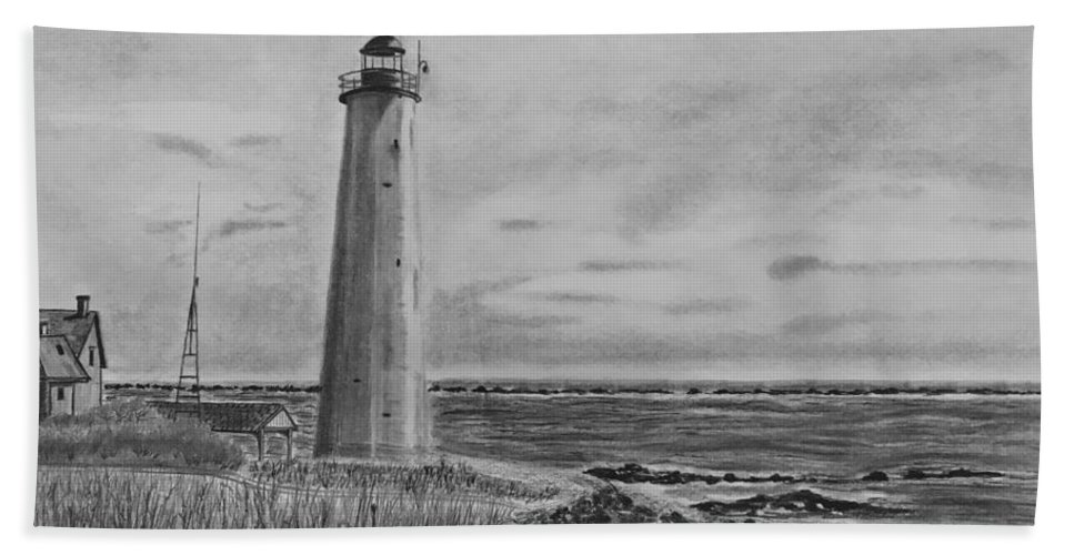 Landscape Beach Sheet featuring the drawing Lighthouse Point by Tony Clark