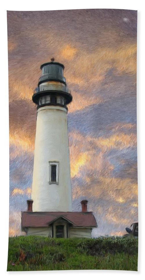 Lighthouse Art Beach Towel featuring the digital art Lighthouse Visitors by Snake Jagger