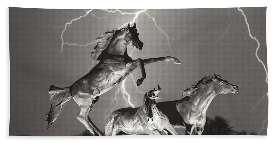 Horses Beach Towel featuring the photograph Lightning At Horse World by James BO Insogna