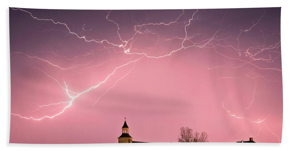 Old Beach Towel featuring the digital art Lightning Bolts Over Spring Valley Country Church by Mark Duffy