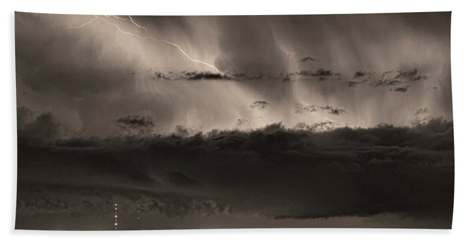 Bouldercounty Beach Towel featuring the photograph Lightning Cloud Burst Boulder County Colorado Im39 Sepia by James BO Insogna