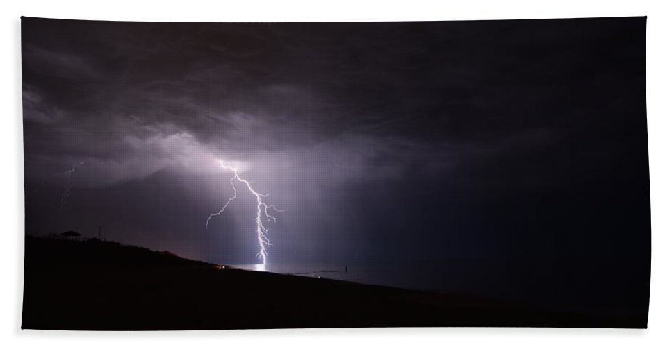 Weather Beach Towel featuring the photograph Lightning On The Beach #1 by Connor Sipe