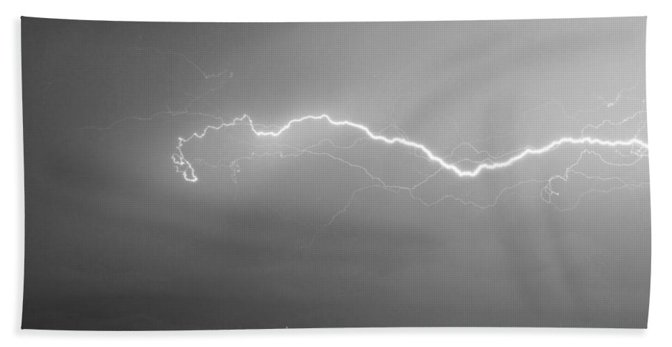 Lightning Beach Towel featuring the photograph Lightning Over North Boulder Colorado Ibm Bw by James BO Insogna