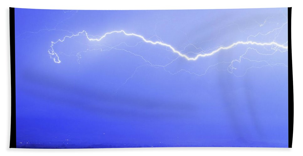 Lightning Beach Towel featuring the photograph Lightning Over North Boulder Colorado Poster Lm by James BO Insogna