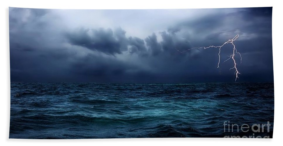 Lightning Beach Towel featuring the photograph Lightning Over Water by Anthony Djordjevic