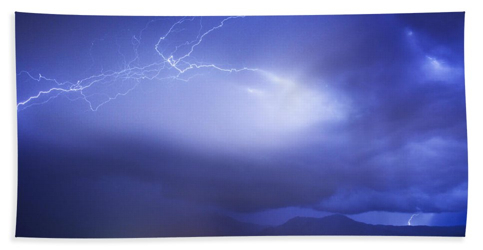 Lightning Beach Towel featuring the photograph Lightning Strikes Over Boulder Colorado by James BO Insogna