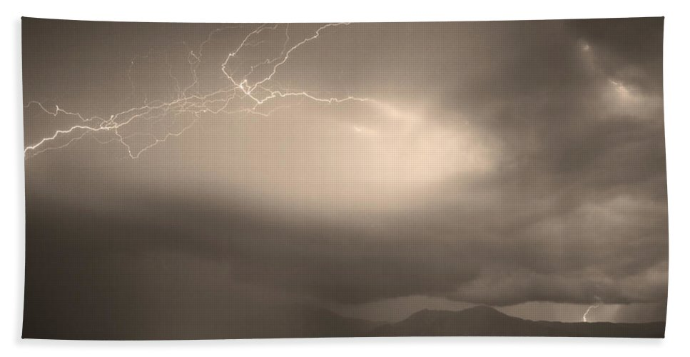 Lightning Beach Towel featuring the photograph Lightning Strikes Over Boulder Colorado Sepia by James BO Insogna