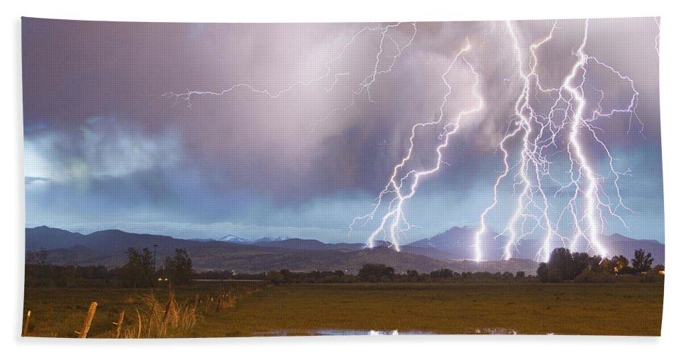 Awesome Beach Towel featuring the photograph Lightning Striking Longs Peak Foothills 4 by James BO Insogna